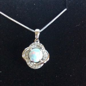 NWOT: Stunning Opal and Diamond Necklace